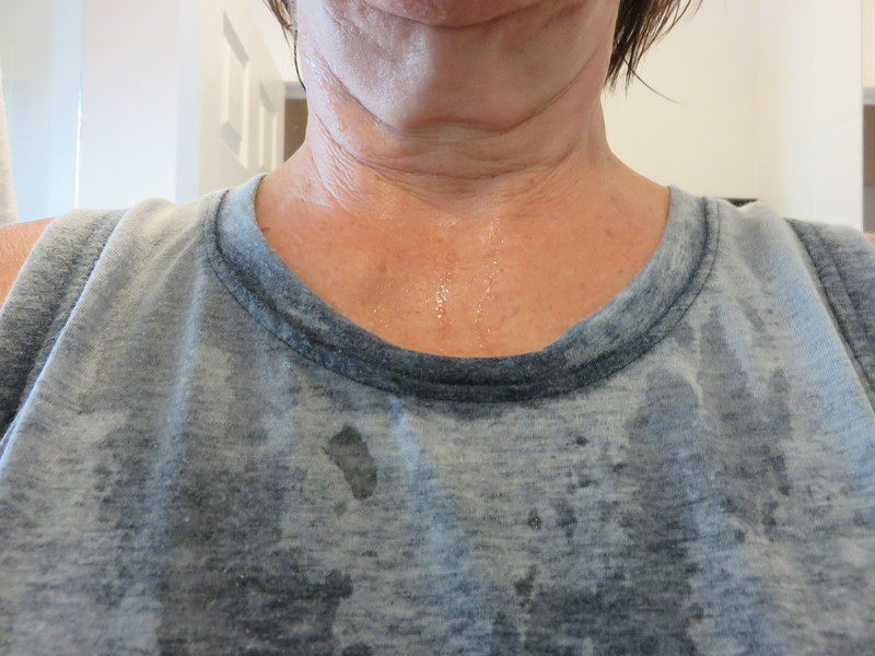 a sweaty human