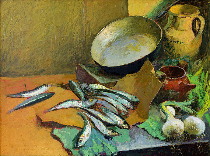 antonio sicurezza, fish, anchovies, still life, painting