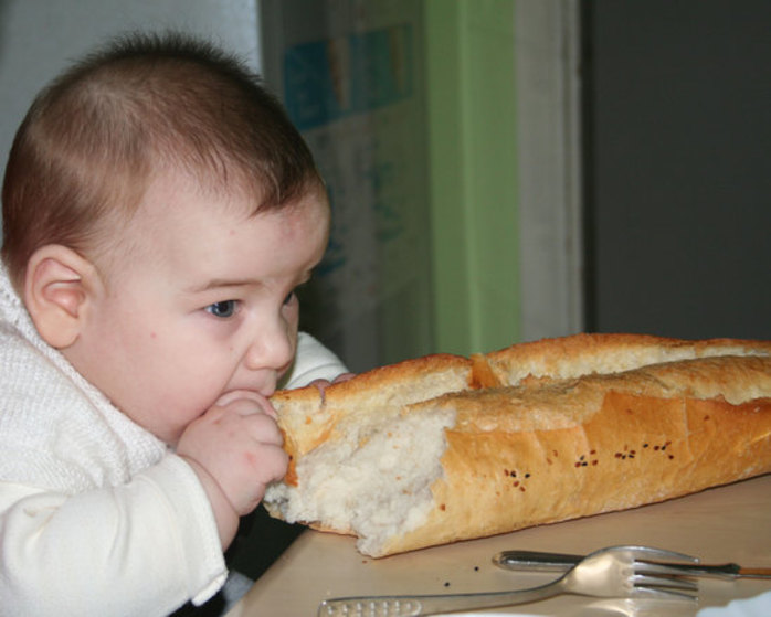 baby, bread, eating