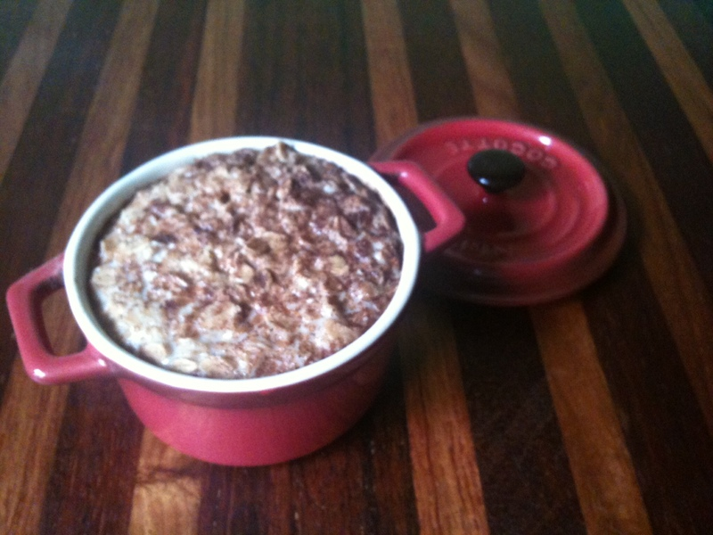 baked porridge, baked porridge and fruit, baked oats, baked porridge recipe, baked porridge and rhubard
