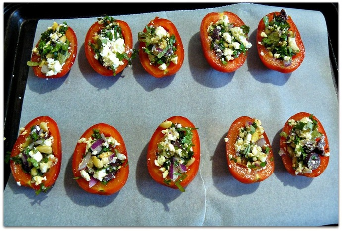 baked roma tomatoes, mediterranean stuffed tomatoes, stuffed tomatoes recipe, roasted roma tomato recipe, mediterranean roasted roma tomatoes, roast tomato recipe, baked tomatoes on tray