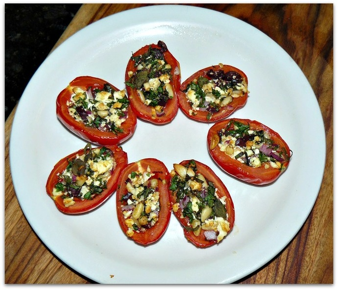 baked roma tomatoes, mediterranean stuffed tomatoes, stuffed tomatoes recipe, roasted roma tomato recipe, mediterranean roasted roma tomatoes, roast tomato recipe