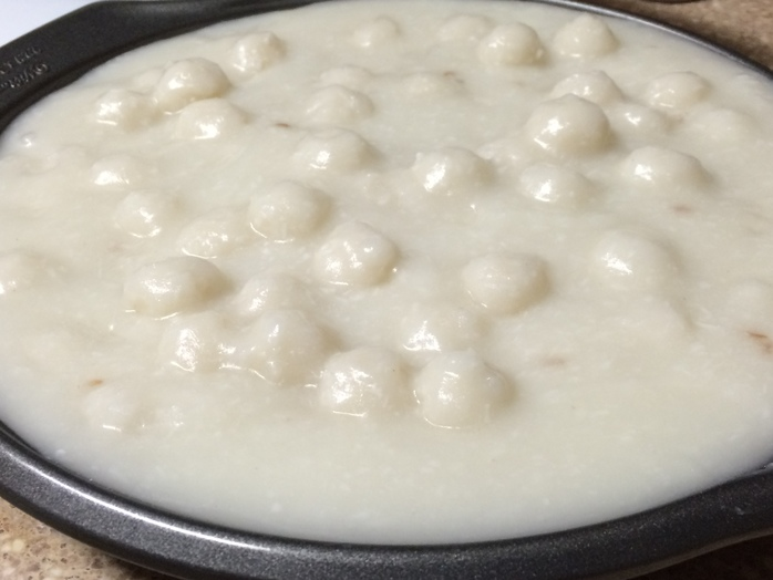 add snow balls to boiling water-coconut mixture