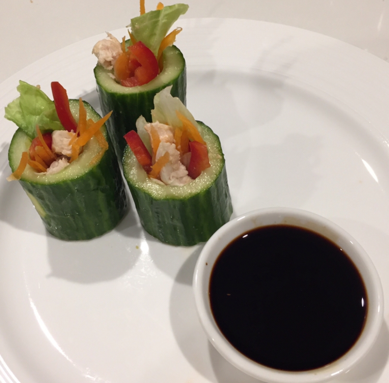 Finely sliced vegetables  - Cucumber sushi with ginger and chilli soy sauce