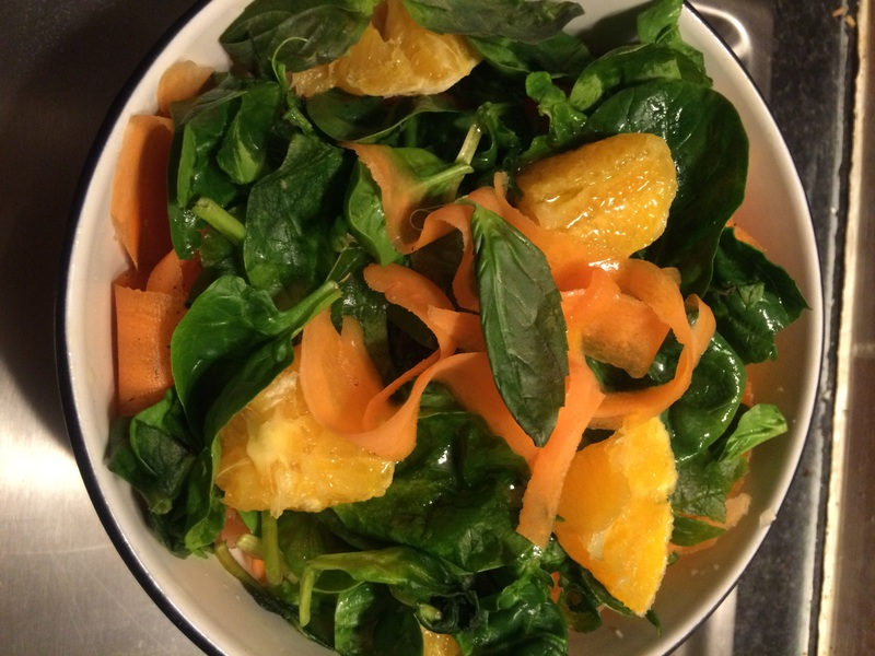 Sunshine orange and spinach salad