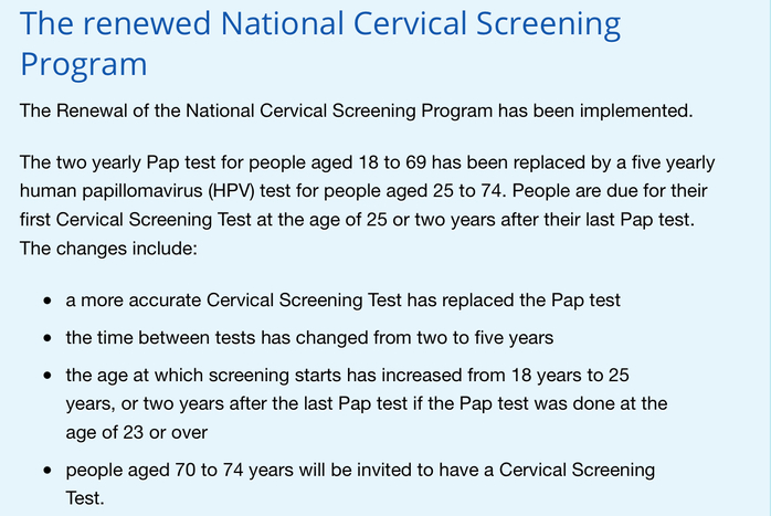 National Cervical Screening Program changes