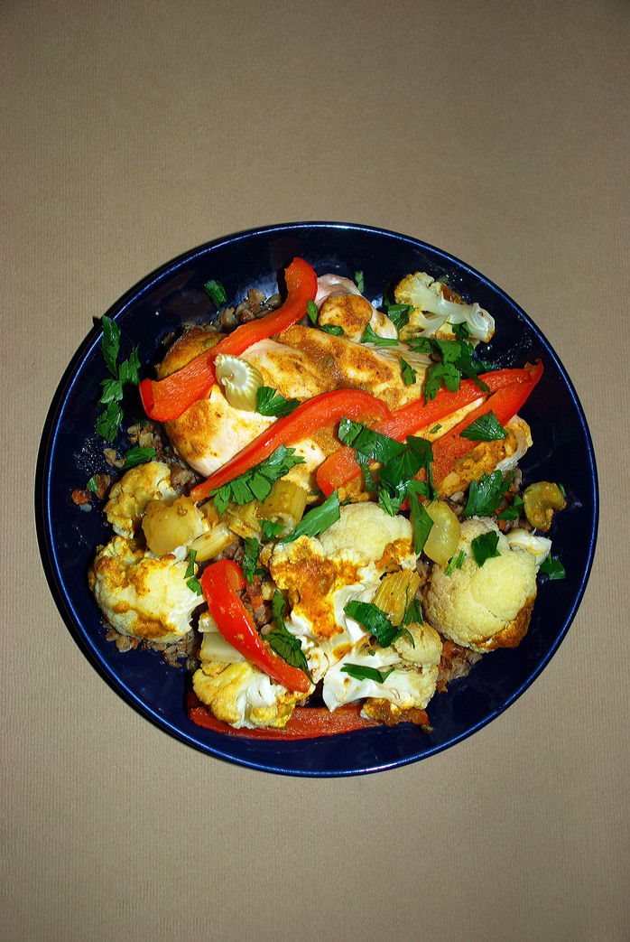 Roasted curried chicken and veggies